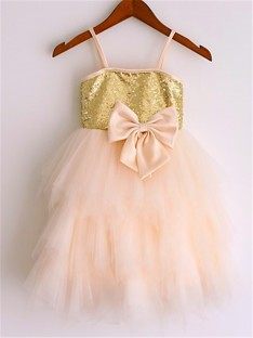 A-line Spaghetti Straps Tea-Length Net Flower Girl Dress