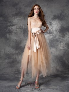 A-line Strapless Bowknot Ankle-Length Elastic Woven Satin Dress