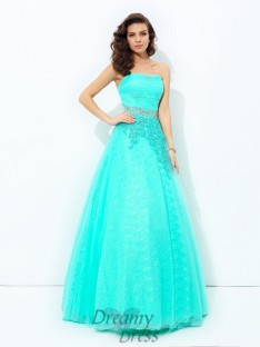A-line Strapless Elastic Woven Satin Long Dress