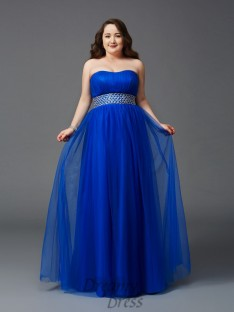 A-line Strapless Floor-Length Net Plus Size Dress