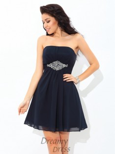 A-line Strapless Short Chiffon Cocktail Dress