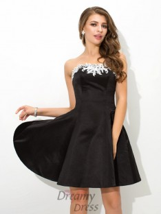 A-line Strapless Short Satin Cocktail Dress