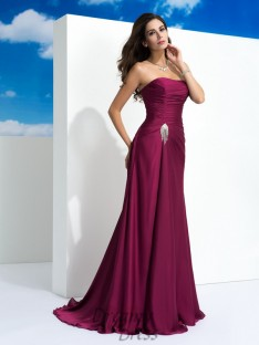 A-line Strapless Sweep/Brush Train Satin Chiffon Dress