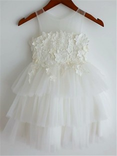 A-line Straps Lace Tea-Length Tulle Flower Girl Dress