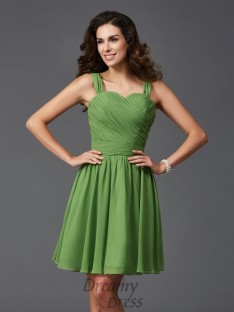 A-line Straps Ruffles Short Silk like Satin Bridesmaid Dress