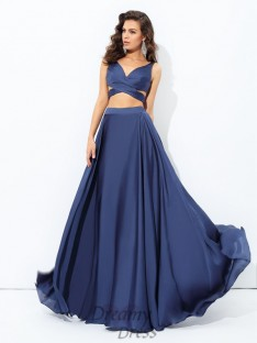 A-line Straps Satin Chiffon Floor-Length Two Piece Dress