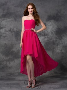A-line Sweetheart Asymmetrical Chiffon Dress