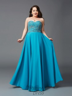 A-line Sweetheart Floor-Length Chiffon Plus Size Dress