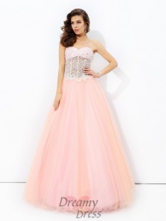 A-line Sweetheart Lace Net Long Dress