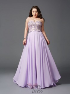 A-line Sweetheart Lace Sweep/Brush Train Chiffon Plus Size Dress