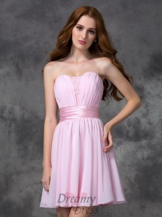 A-line Sweetheart Ruched Short Chiffon Dress
