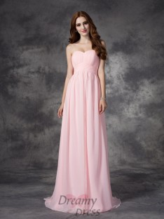 A-line Sweetheart Ruched Sweep/Brush Train Chiffon Dress