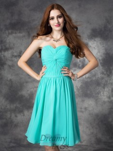 A-line Sweetheart Ruffles Knee-Length Chiffon Dress