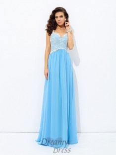 A-line V-neck Lace Chiffon Long Dress