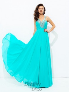 A-line V-neck Paillette Chiffon Long Dress