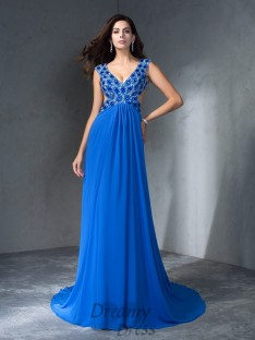 A-line V-neck Sequin Sweep/Brush Train Chiffon Dress
