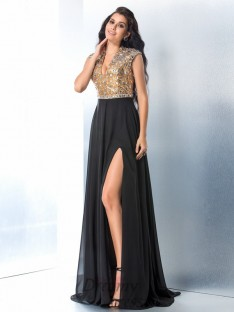 A-line V-neck Sweep/Brush Train Chiffon Dress