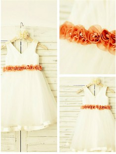 A-line V-neck Tea-Length Tulle Flower Girl Dress
