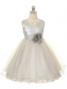 Ball Gown Jewel Floor-length Organza Flower Girl Dresses with Hand-made Flower