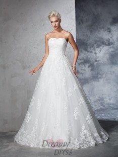 Ball Gown Lace Strapless Court Train Wedding Dress