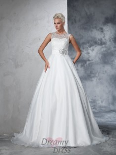 Ball Gown Net Lace Chapel Train Wedding Dress