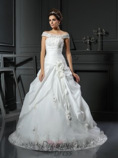 Ball Gown Off-the-Shoulder Satin Chapel Train Wedding Dress