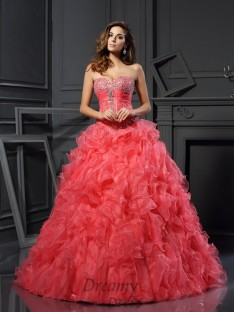 Ball Gown Organza Sweetheart Floor-Length Dress