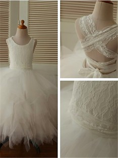 Ball Gown Scoop Lace Tea-Length Organza Flower Girl Dress