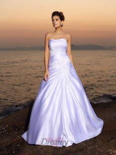 Ball Gown Strapless Satin Court Train Wedding Dress