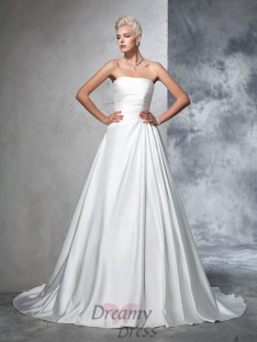 Ball Gown Strapless Satin Ruched Chapel Train Wedding Dress