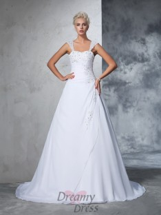 Ball Gown Straps Chiffon Court Train Wedding Dress