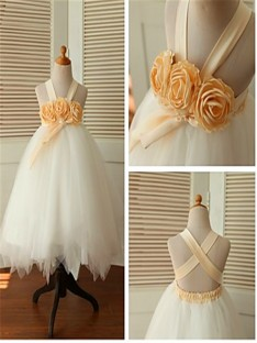 Ball Gown Straps Tea-Length Tulle Flower Girl Dress