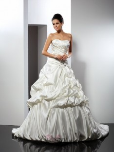 Ball Gown Sweetheart Cathedral Train Satin Wedding Dress