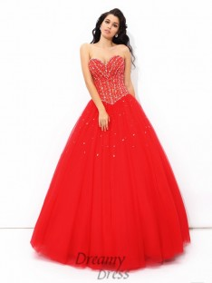 Ball Gown Sweetheart Floor-Length Net Quinceanera Dress
