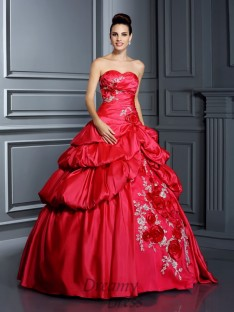 Ball Gown Sweetheart Floor-Length Taffeta Quinceanera Dress