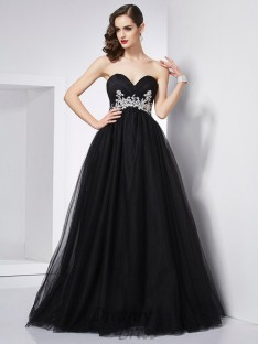 Ball Gown Sweetheart Net Floor-Length Dress