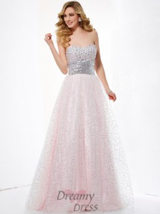 Ball Gown Sweetheart Satin Floor-Length Dress