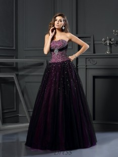 Ball Gown Sweetheart Satin Long Dress