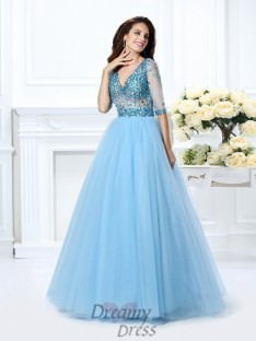 Ball Gown V-neck 1/2 Sleeves Satin Long Dress