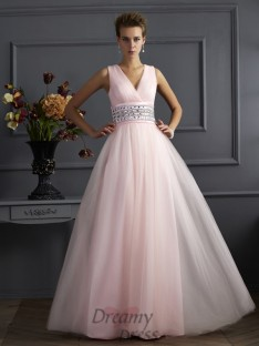 Ball Gown V-neck Floor-Length Net Dress
