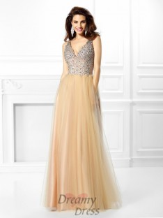 Ball Gown V-neck Satin Long Dress