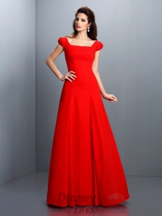 Bateau Short Sleeves Satin Long Dress