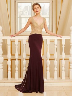 Sheath Straps Sweep/Brush Train Jersey Dress with Beading