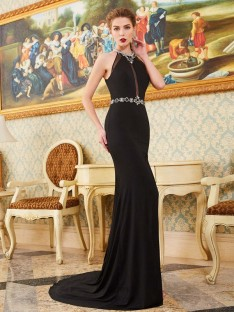 Sheath High Neck Sweep/Brush Train Spandex Dress with Beading