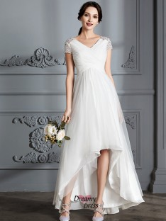 A-Line/Princess V-neck Asymmetrical Tulle Wedding Dress