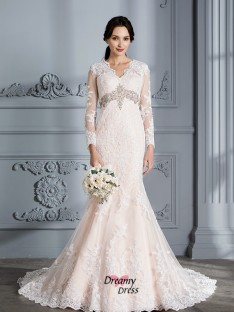 Trumpet/Mermaid V-Neck Beading Sweep/Brush Train Organza Wedding Dress