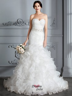 Trumpet/Mermaid Sweetheart Ruffle Sweep/Brush Train Satin Wedding Dress