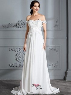 A-Line/Princess Off-the-Shoulder Chiffon Floor-Length Wedding Dress