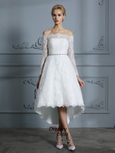 A-Line Off-the-Shoulder Asymmetrical Wedding Dress