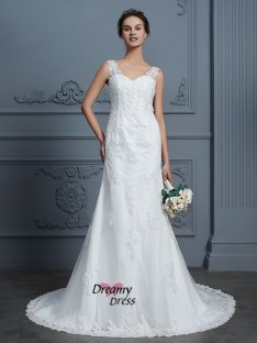Mermaid V-neck Court Train Tulle Wedding Dress